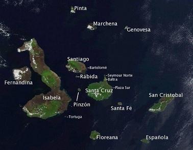 Islas Galápagos Imágen desde un satélite